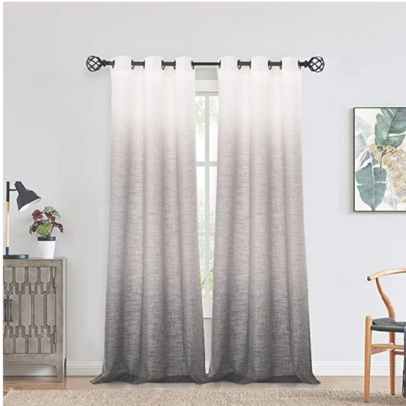 Other - New White to grey Ombre Window Curtain Panel Linen